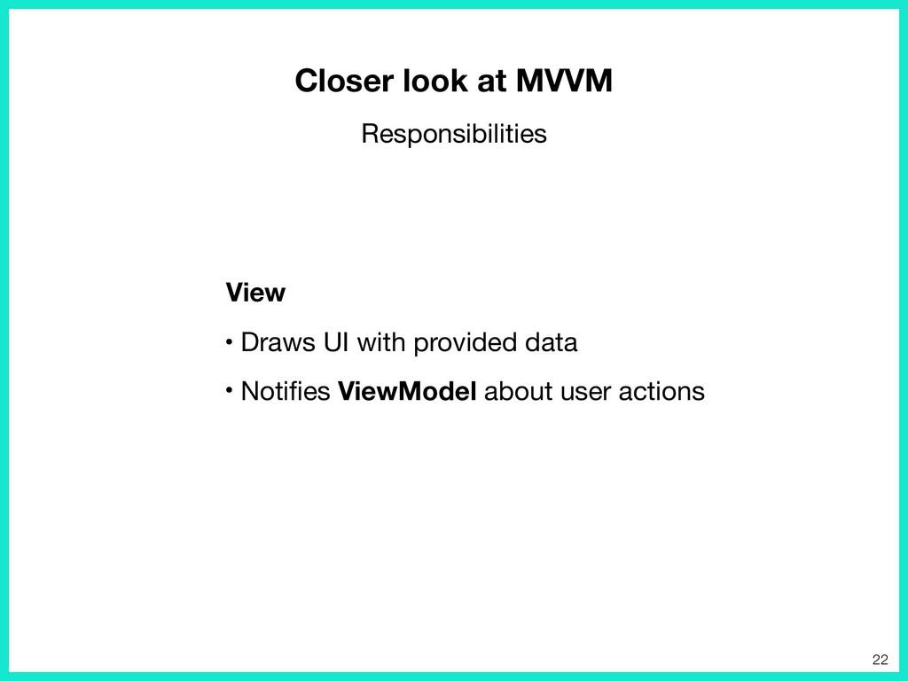 • Draws UI with provided data  • Notifies ViewMo...