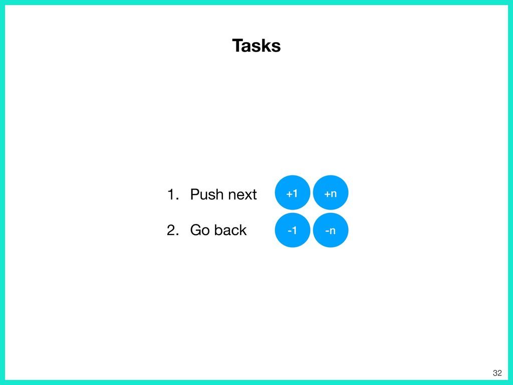 1. Push next  2. Go back +1 +n -1 -n 32 Tasks