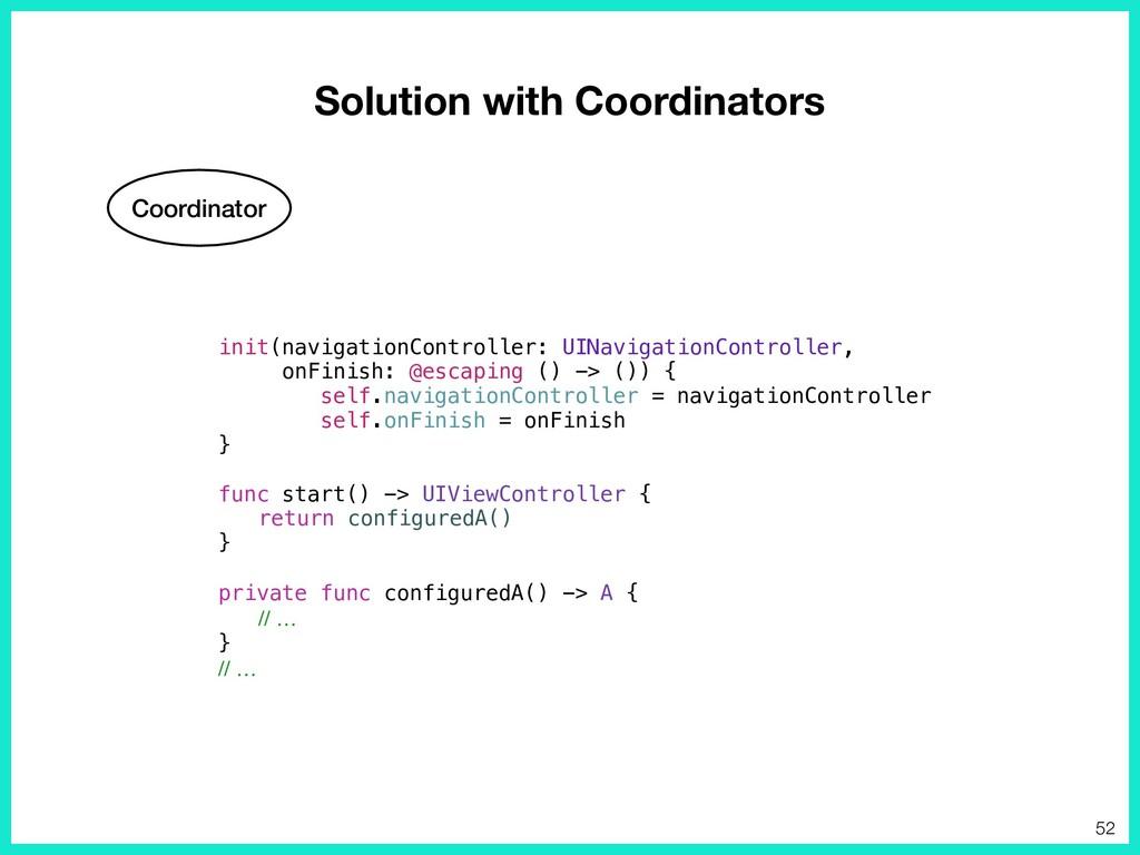 Solution with Coordinators Coordinator init(nav...