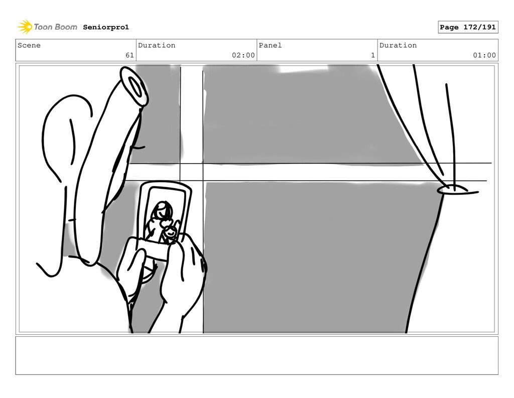 Scene 61 Duration 02:00 Panel 1 Duration 01:00 ...