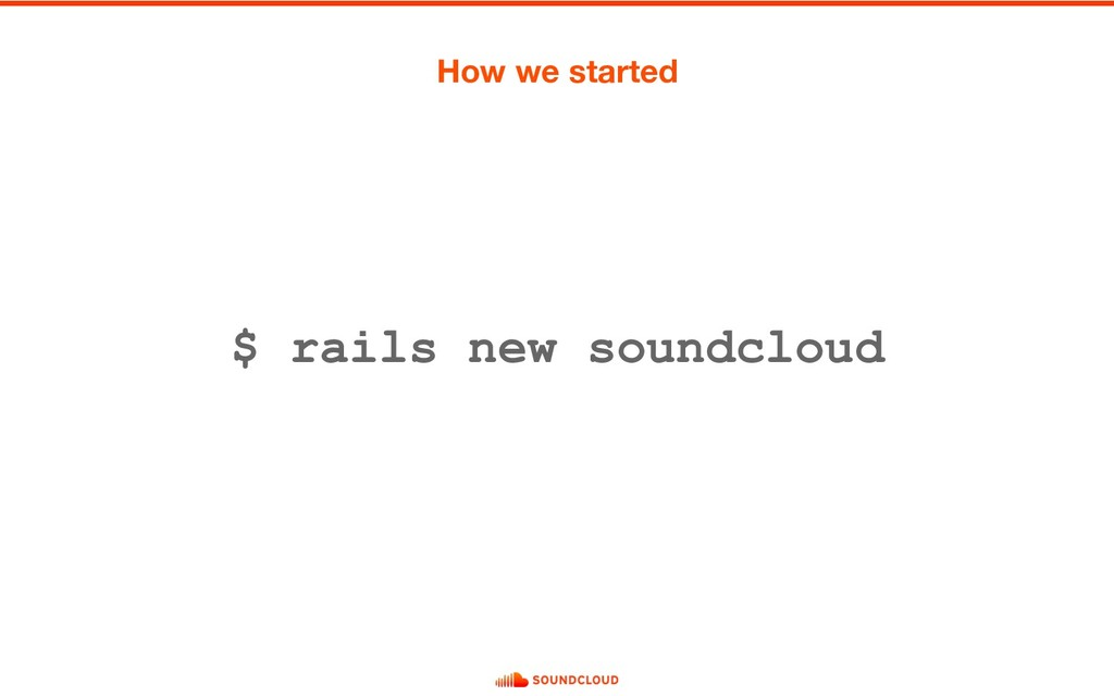 $ rails new soundcloud How we started