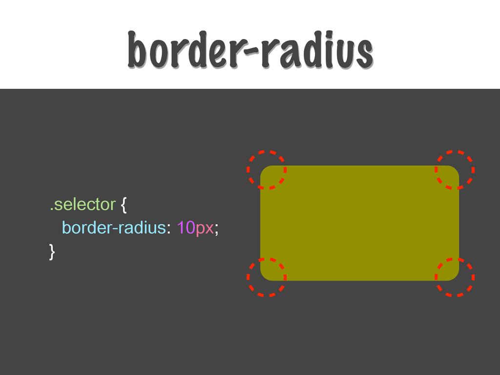 border-radius .selector { border-radius: 10px; ...