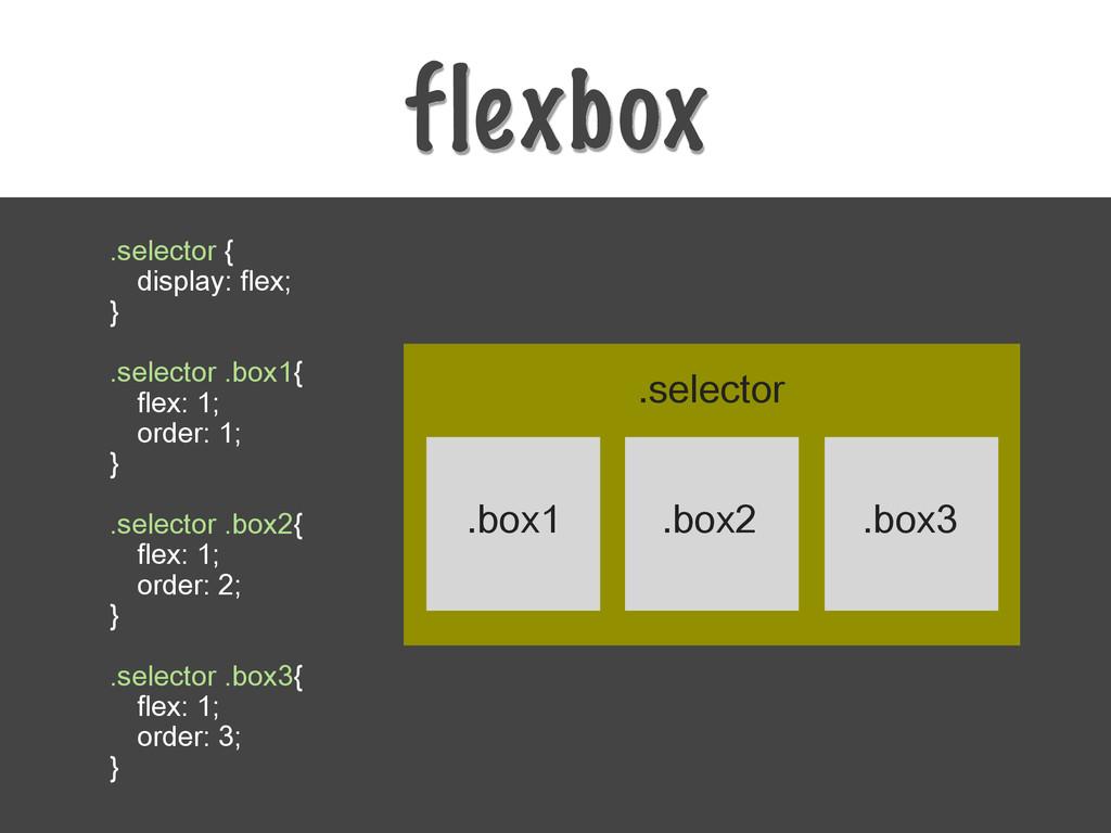 flexbox .selector { display: flex; } .selector ...