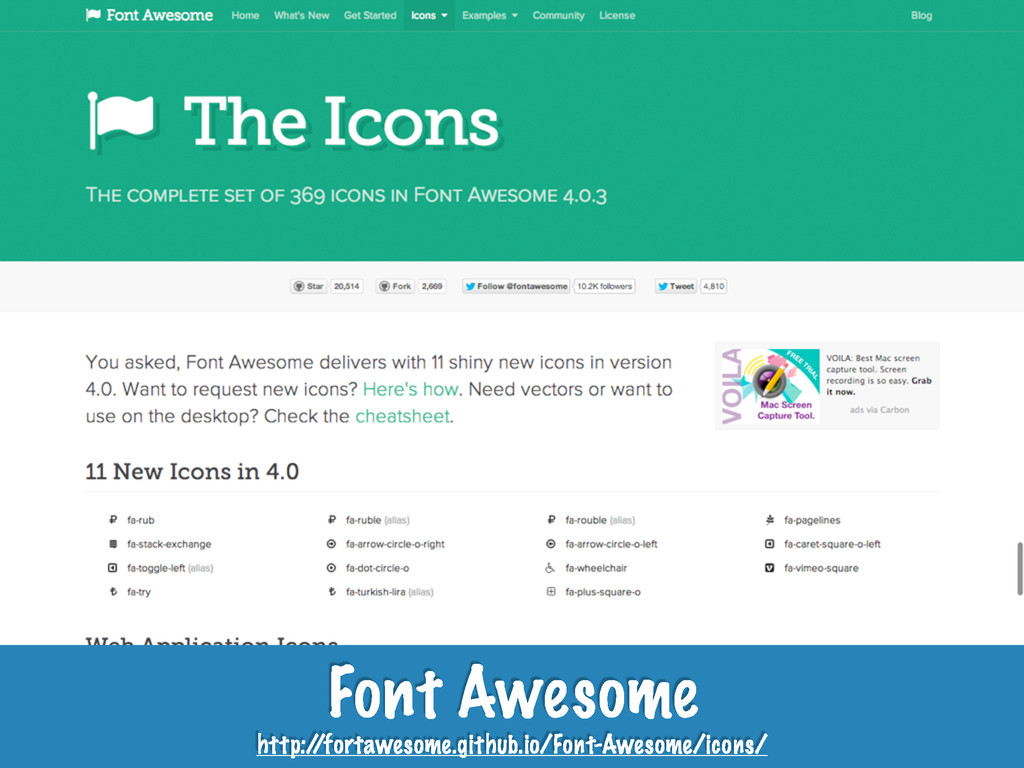 Font Awesome http:/ /fortawesome.github.io/Font...