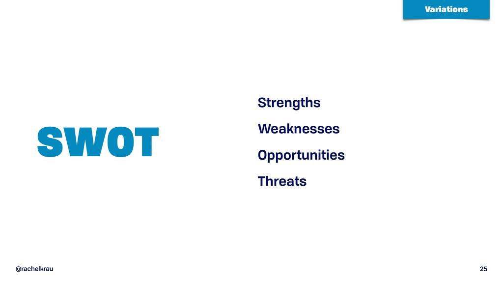 @rachelkrau 25 SWOT Strengths Weaknesses Opport...