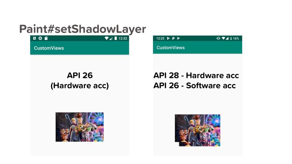 Paint#setShadowLayer API 26 (Hardware acc) API ...