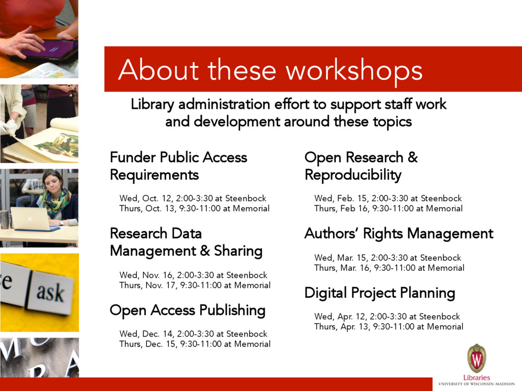 About these workshops Funder Public Access Requ...