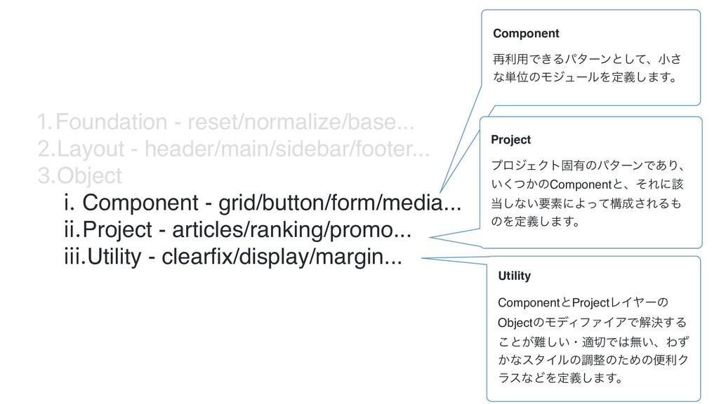 1.Foundation - reset/normalize/base... 2.Layout...