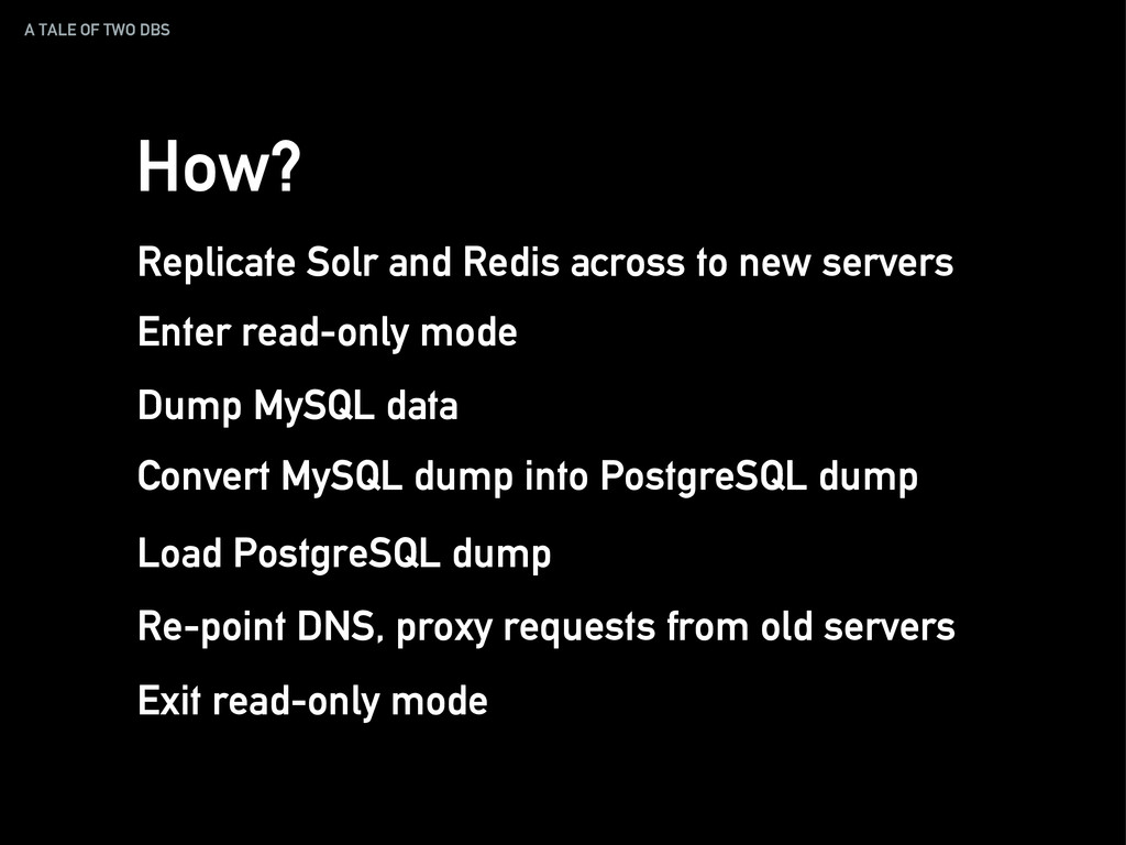 A TALE OF TWO DBS How? Replicate Solr and Redis...