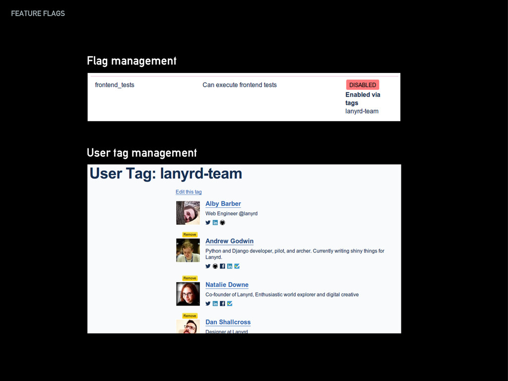 FEATURE FLAGS Flag management User tag manageme...