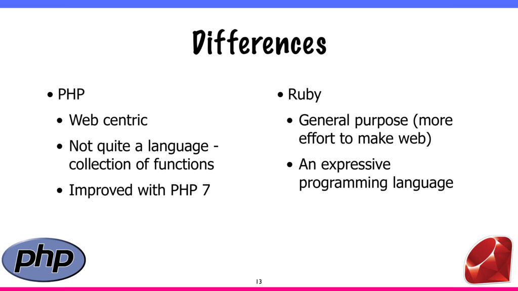 Differences • PHP • Web centric • Not quite a l...