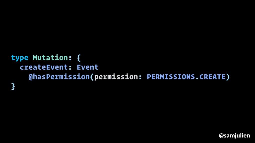 type Mutation: { createEvent: Event @hasPermiss...