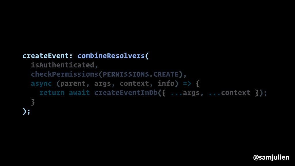 createEvent: combineResolvers( isAuthenticated,...