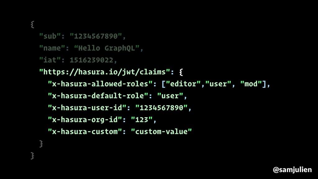 "{ ""sub"": ""1234567890"", ""name"": ""Hello GraphQL"",..."