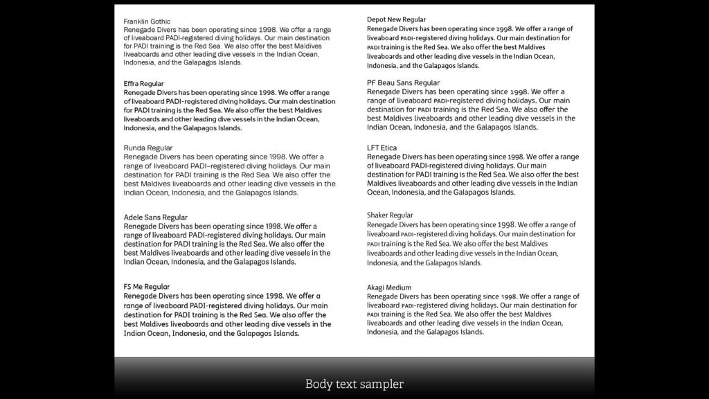 Body text sampler Depot New Regular Renegade Di...