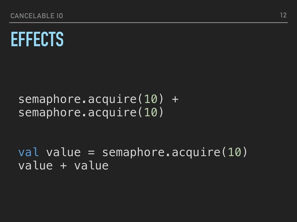 CANCELABLE IO EFFECTS 12 semaphore.acquire(10) ...