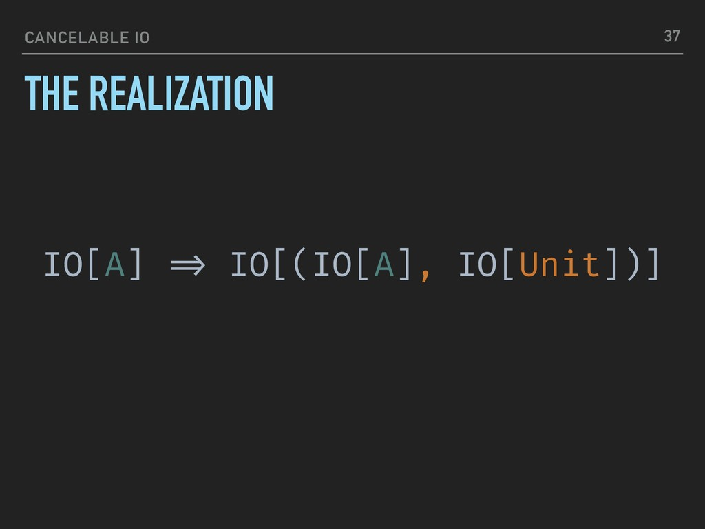 CANCELABLE IO THE REALIZATION 37 IO[A] !=> IO[(...