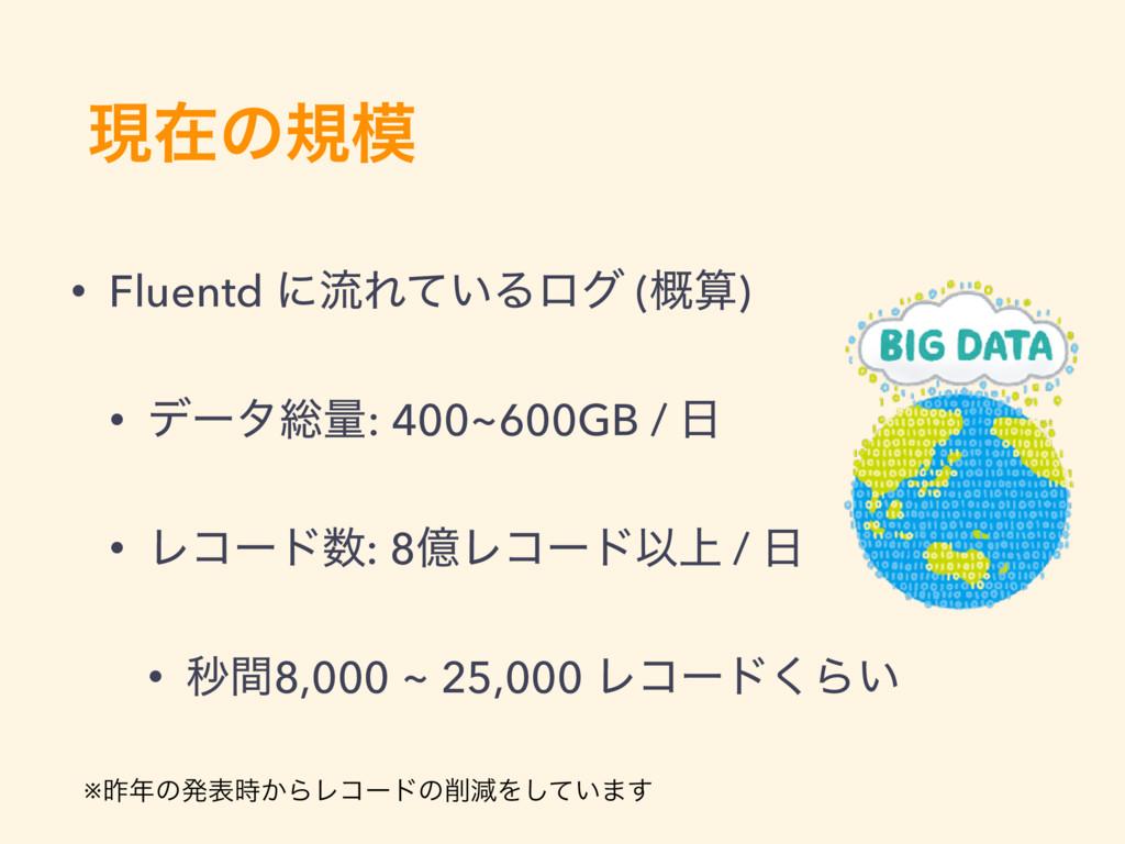 ݱࡏͷن • Fluentd ʹྲྀΕ͍ͯΔϩά (֓) • σʔλ૯ྔ: 400~600G...