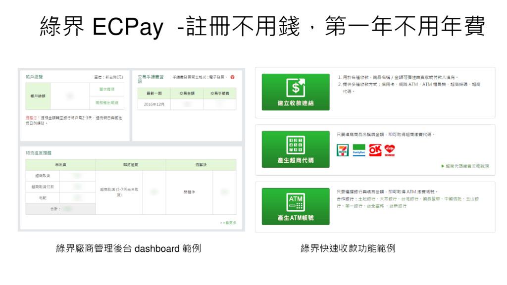 綠界 ECPay -註冊不用錢,第一年不用年費 綠界廠商管理後台 dashboard 範例 綠...