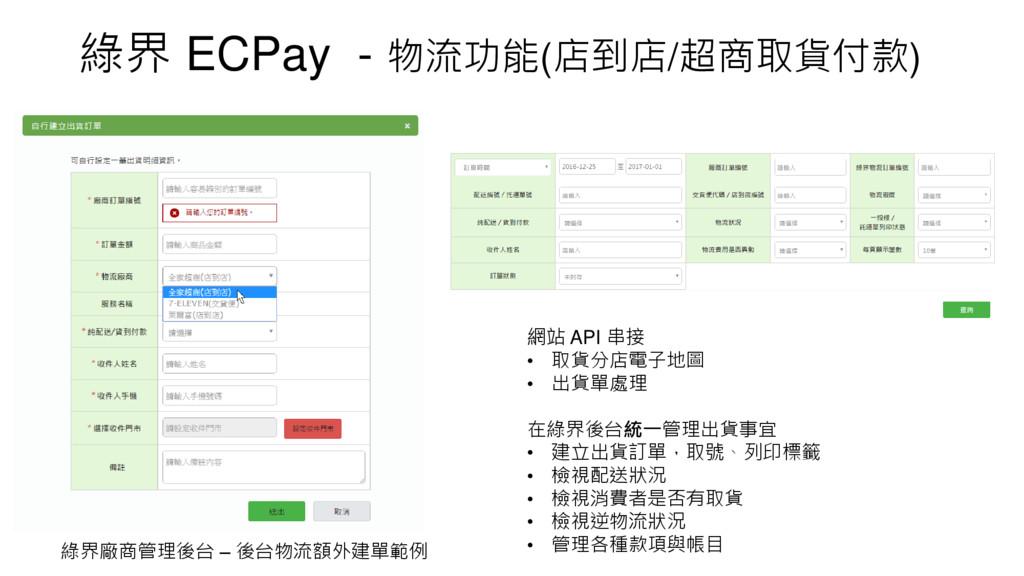 綠界 ECPay - 物流功能(店到店/超商取貨付款) 網站 API 串接 • 取貨分店電子地...