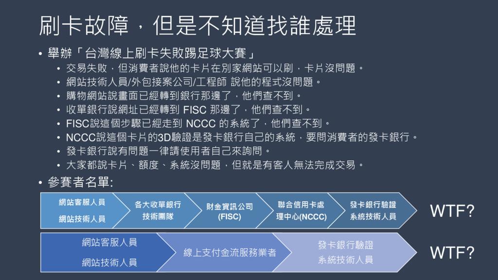 刷卡故障,但是不知道找誰處理 • 舉辦「台灣線上刷卡失敗踢足球大賽」 • 交易失敗,但消費者說...