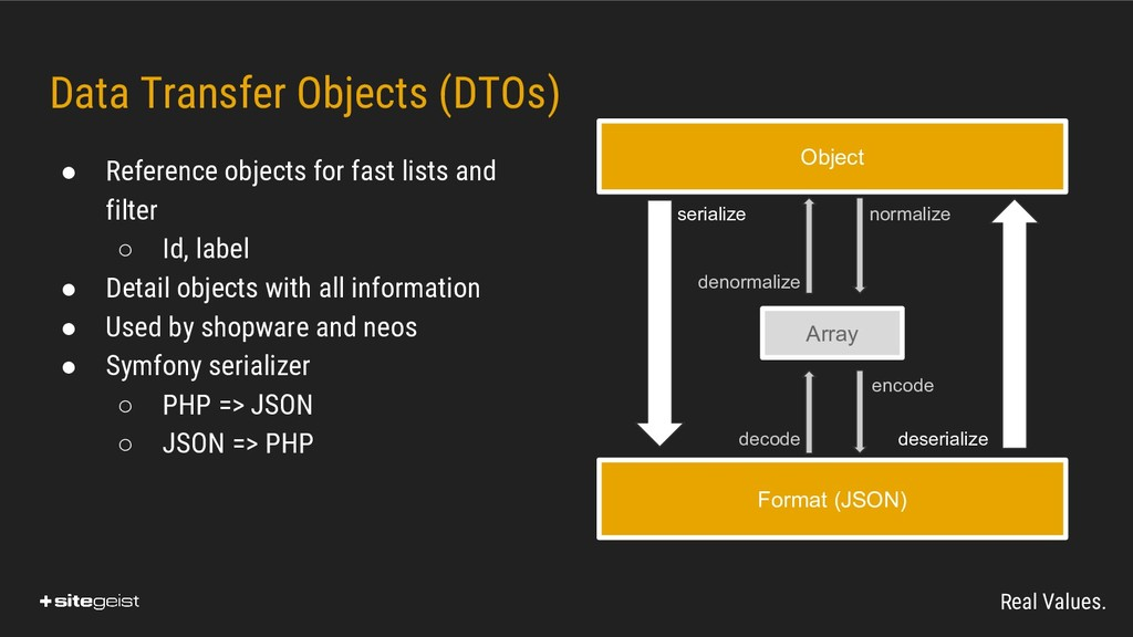 Real Values. Data Transfer Objects (DTOs) ● Ref...