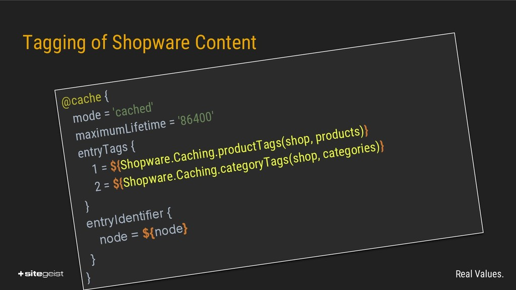 Real Values. Tagging of Shopware Content @cache...