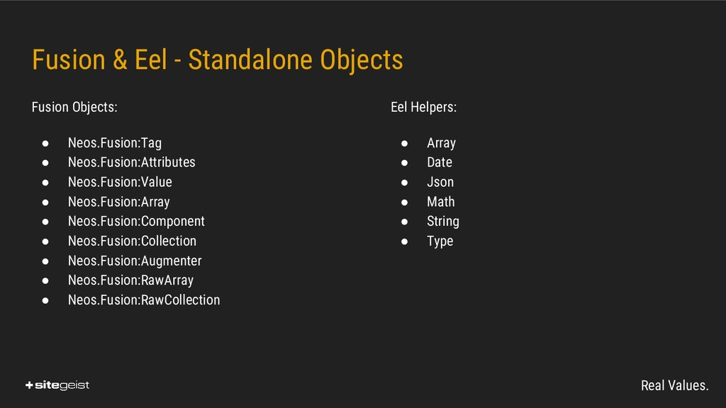 Real Values. Fusion & Eel - Standalone Objects ...