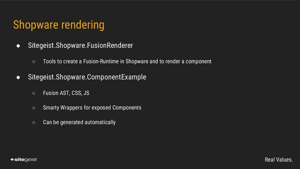 Real Values. Shopware rendering ● Sitegeist.Sho...