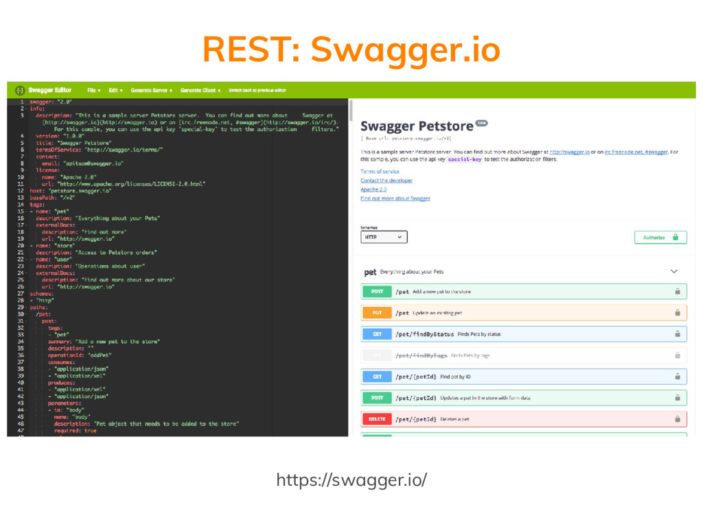 REST: Swagger.io https://swagger.io/