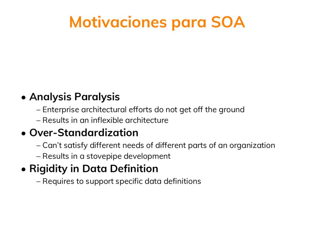 • Analysis Paralysis – Enterprise architectural...