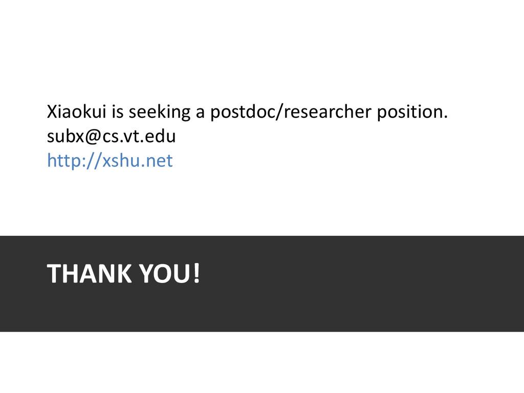THANK YOU! Xiaokui is seeking a postdoc/researc...