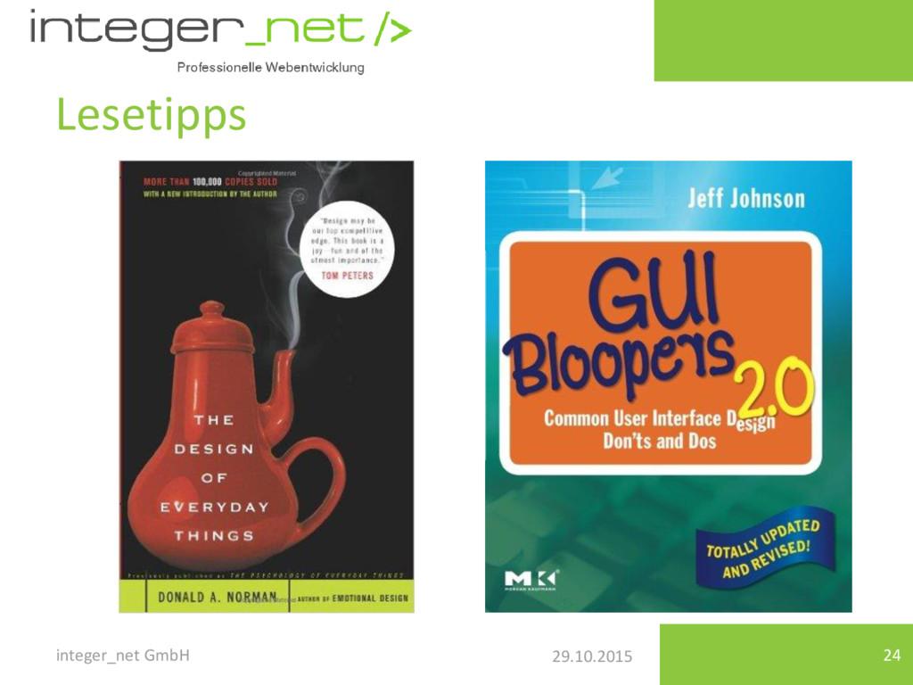 29.10.2015 Lesetipps integer_net GmbH 24
