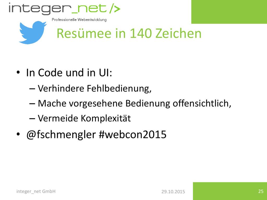 29.10.2015 Resümee in 140 Zeichen • In Code und...