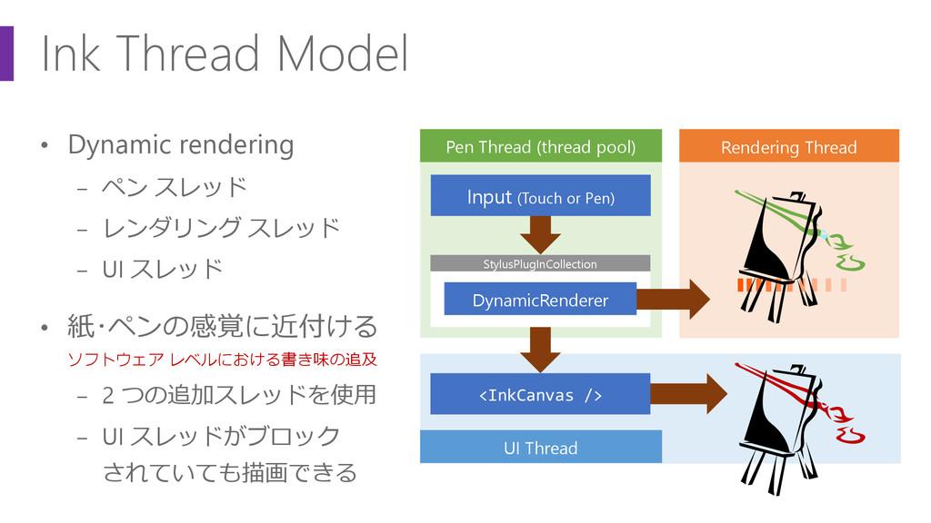 UI Thread • Dynamic rendering − ペン スレッド − レンダリン...