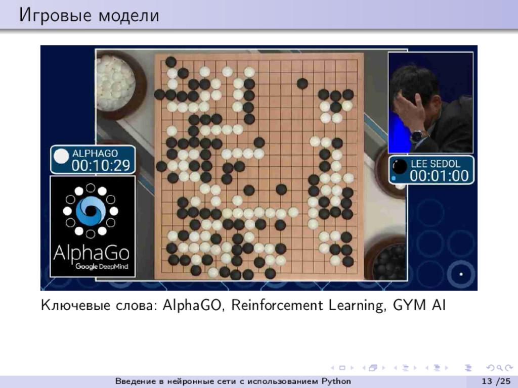 Игровые модели Ключевые слова: AlphaGO, Reinfor...