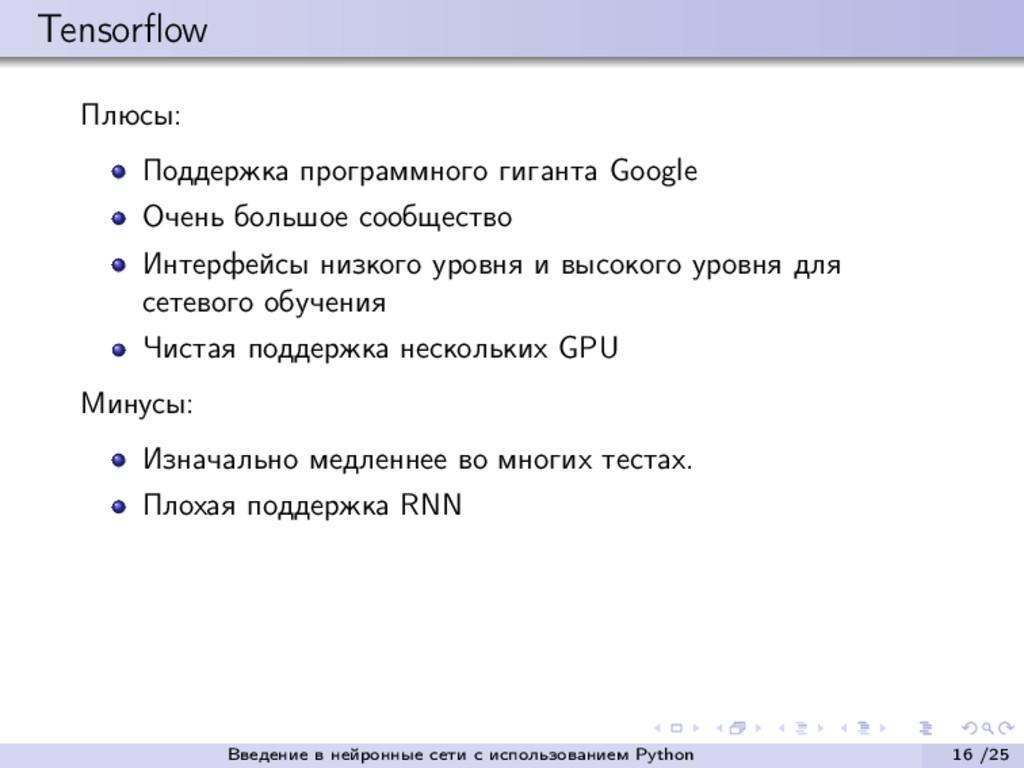 Tensorflow Плюсы: Поддержка программного гиганта...