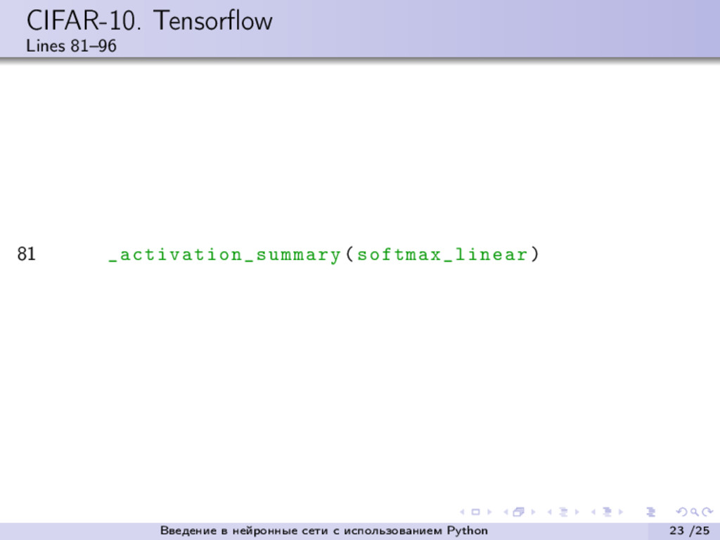 CIFAR-10. Tensorflow Lines 81–96 81 _activation_...