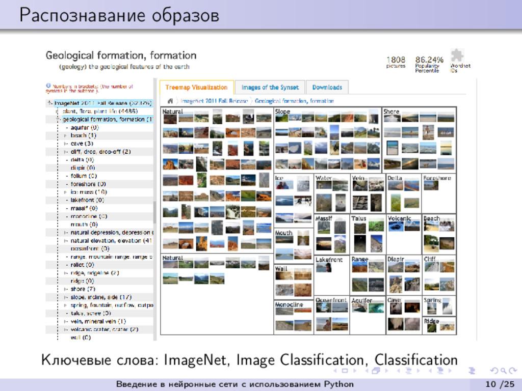 Распознавание образов Ключевые слова: ImageNet,...