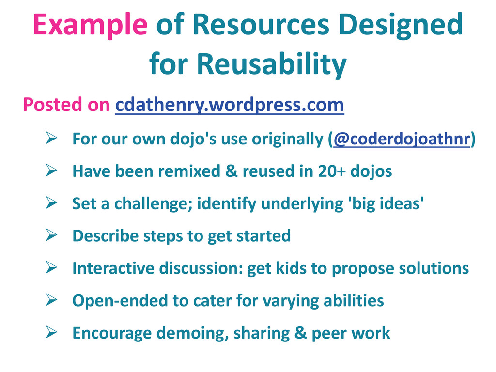 Example of Resources Designed for Reusability P...