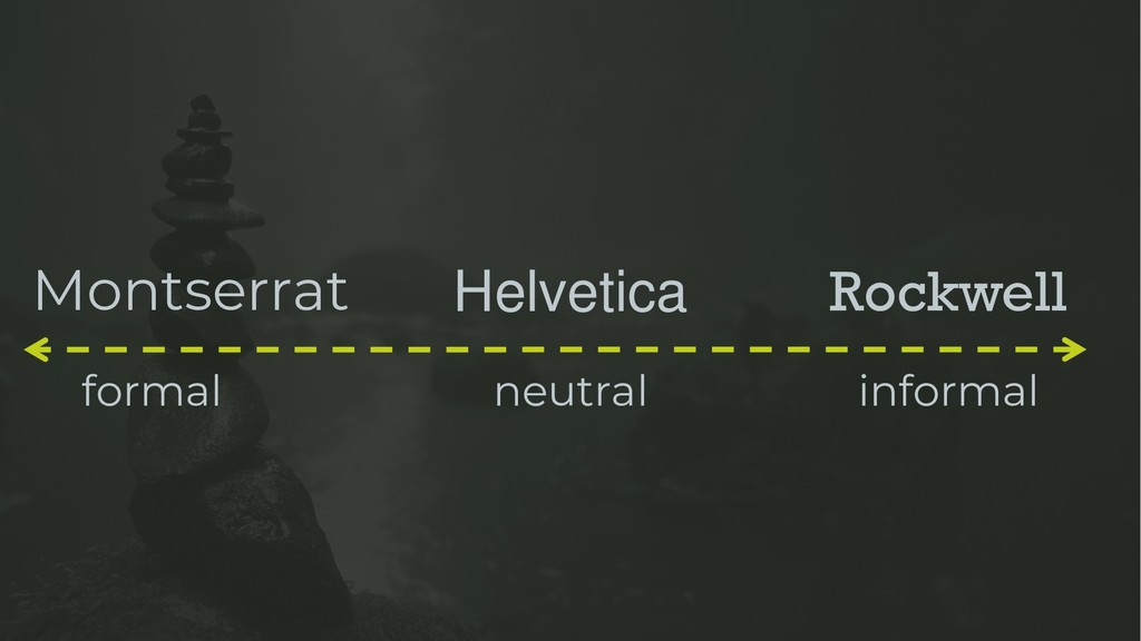 Montserrat formal Helvetica Rockwell informal n...