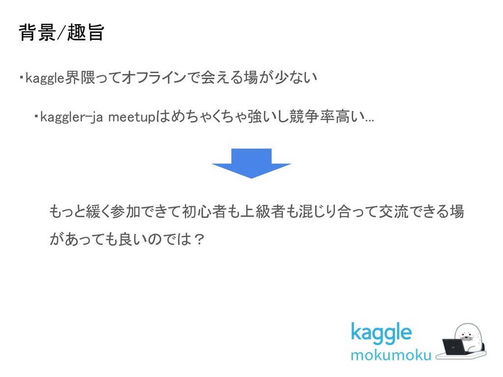 背景/趣旨 ・kaggle界隈ってオフラインで会える場が少ない  ・kaggler-ja ...