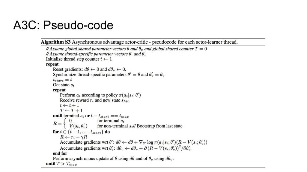 A3C: Pseudo-code