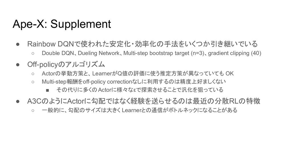 Ape-X: Supplement ● Rainbow DQNで使われた安定化・効率化の手法を...