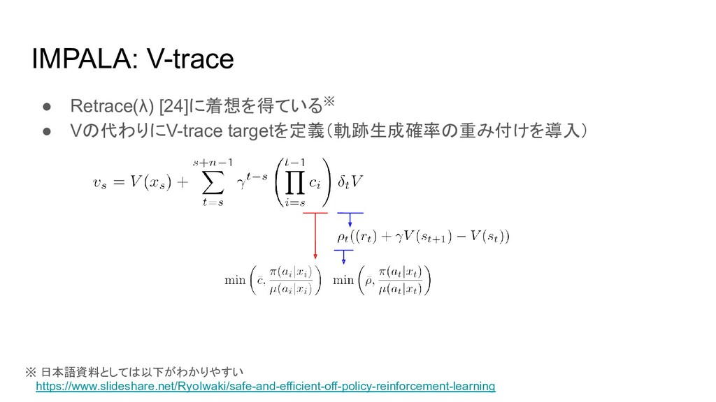 IMPALA: V-trace ● Retrace(λ) [24]に着想を得ている※ ● Vの...