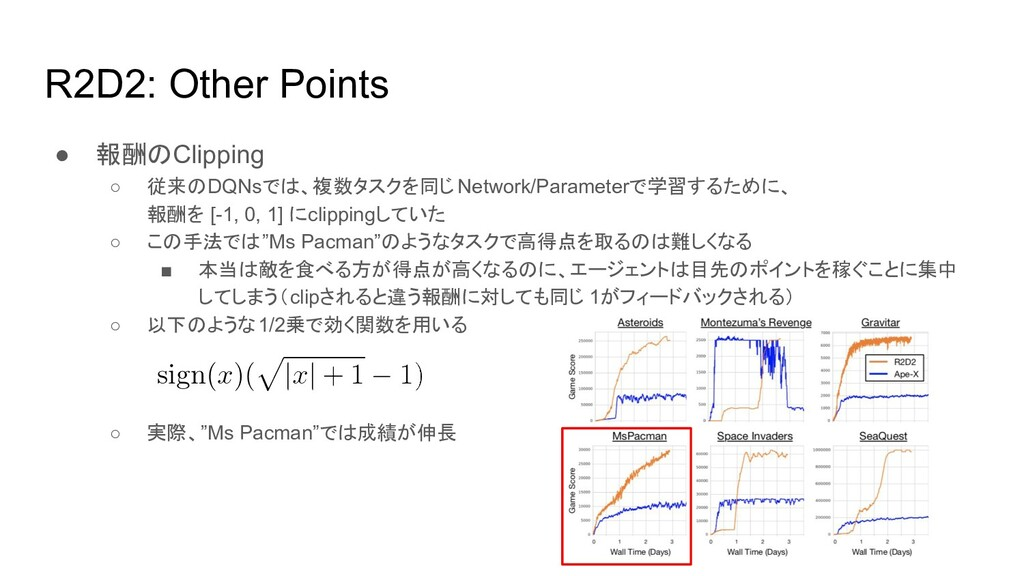 R2D2: Other Points ● 報酬のClipping ○ 従来のDQNsでは、複数...