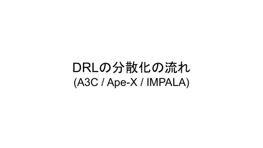 DRLの分散化の流れ (A3C / Ape-X / IMPALA)