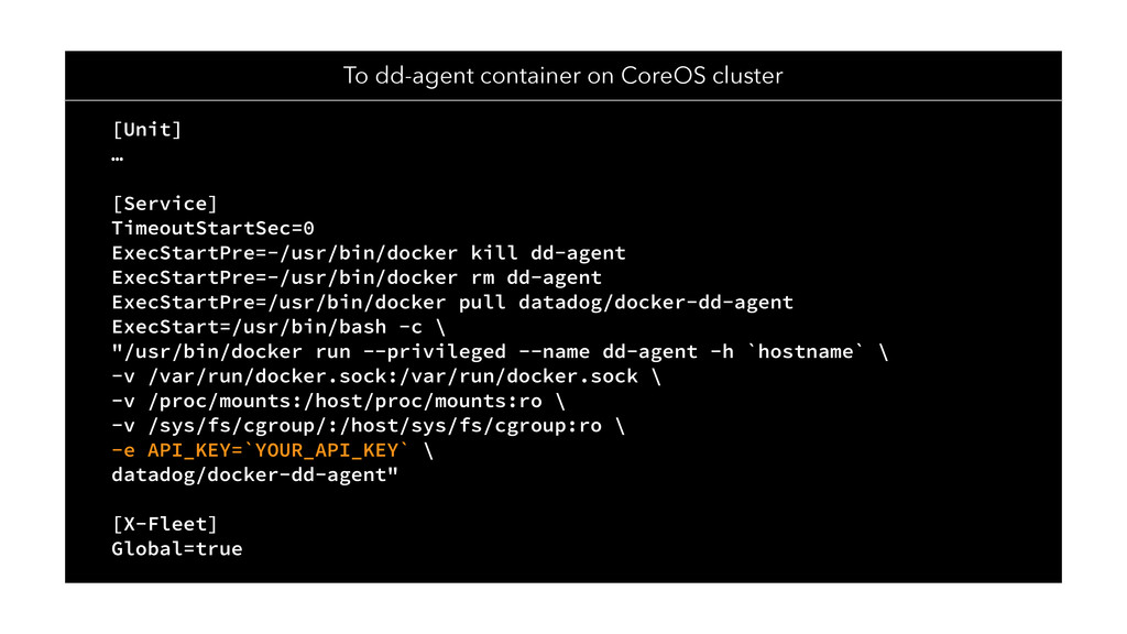 To dd-agent container on CoreOS cluster [Unit] ...