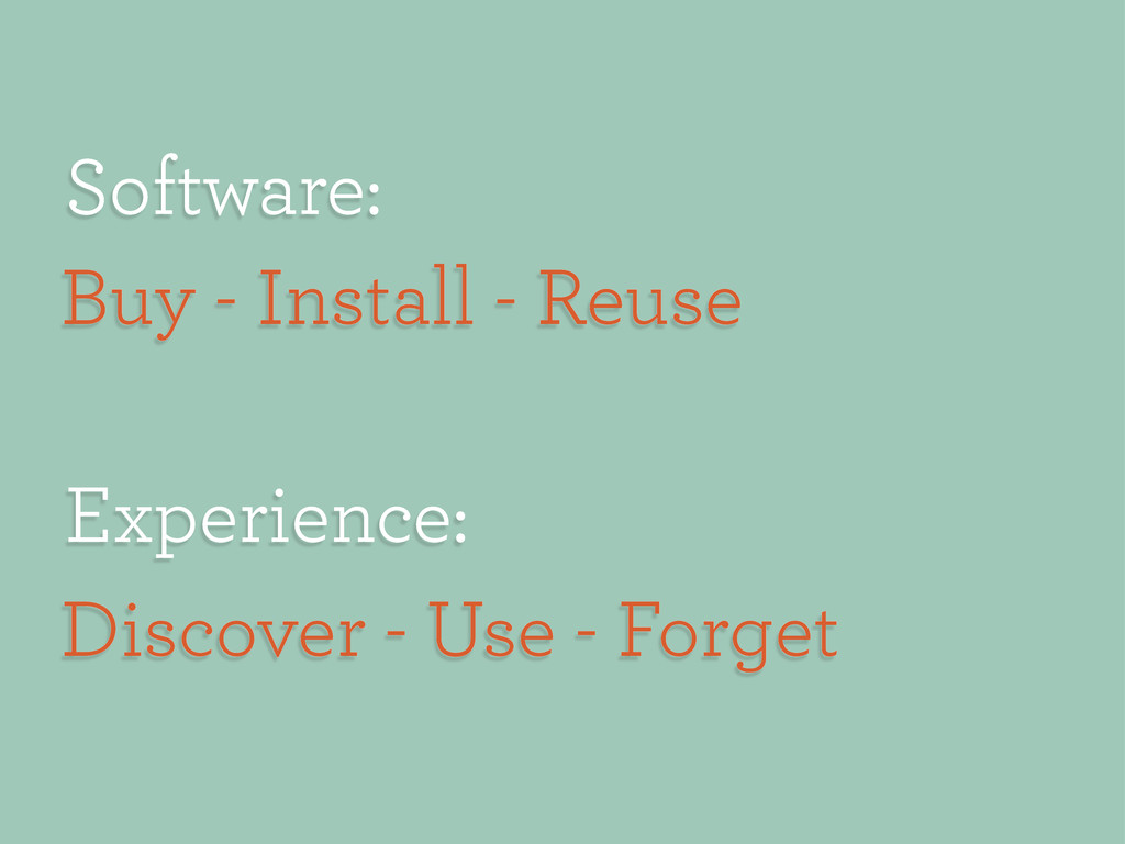 Experience: Discover - Use - Forget Software: B...
