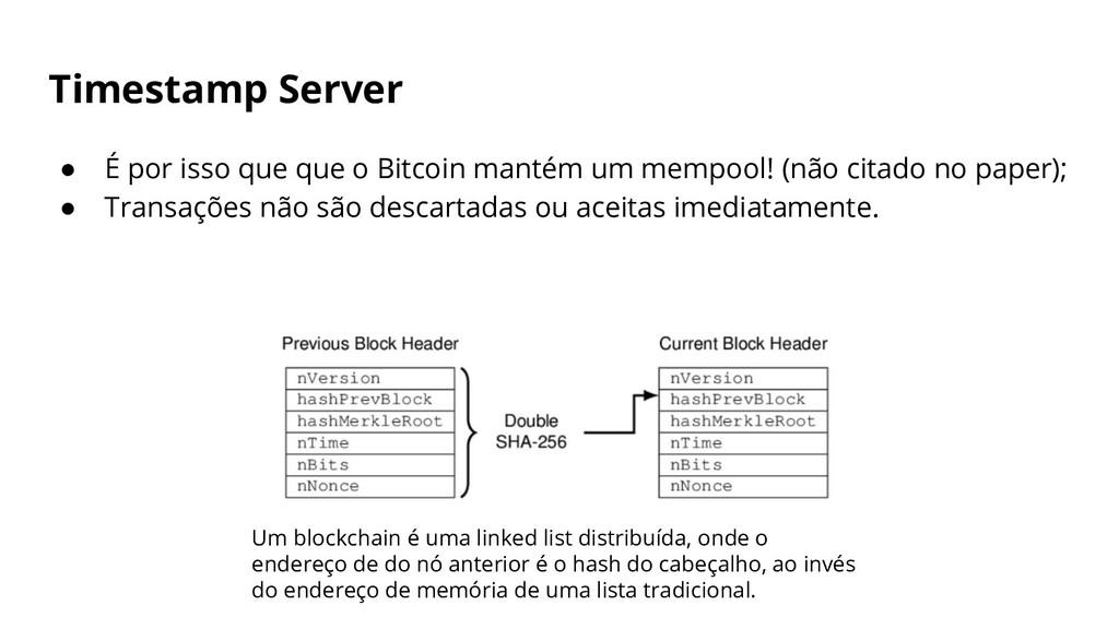 Timestamp Server ● É por isso que que o Bitcoin...